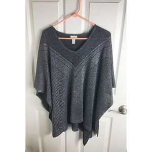 Chico's Black Silver Sparkle Batwing Top